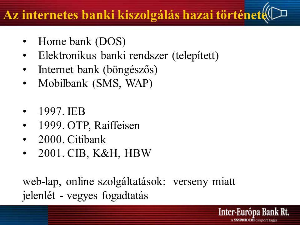 Az internetes banki kiszolgálás hazai története Home bank (DOS) Elektronikus banki rendszer (telepített) Internet bank (böngészős) Mobilbank (SMS, WAP