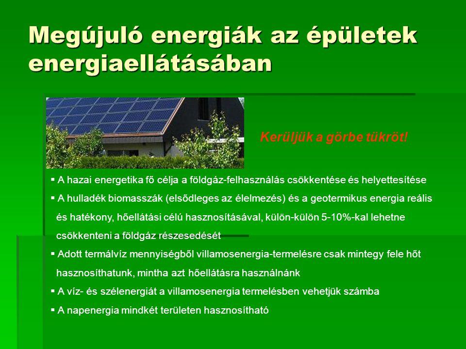 Megújuló energiák az épületek energiaellátásában  A hazai energetika fő célja a földgáz-felhasználás csökkentése és helyettesítése  A hulladék biomasszák (elsődleges az élelmezés) és a geotermikus energia reális és hatékony, hőellátási célú hasznosításával, külön-külön 5-10%-kal lehetne csökkenteni a földgáz részesedését  Adott termálvíz mennyiségből villamosenergia-termelésre csak mintegy fele hőt hasznosíthatunk, mintha azt hőellátásra használnánk  A víz- és szélenergiát a villamosenergia termelésben vehetjük számba  A napenergia mindkét területen hasznosítható Kerüljük a görbe tükröt!
