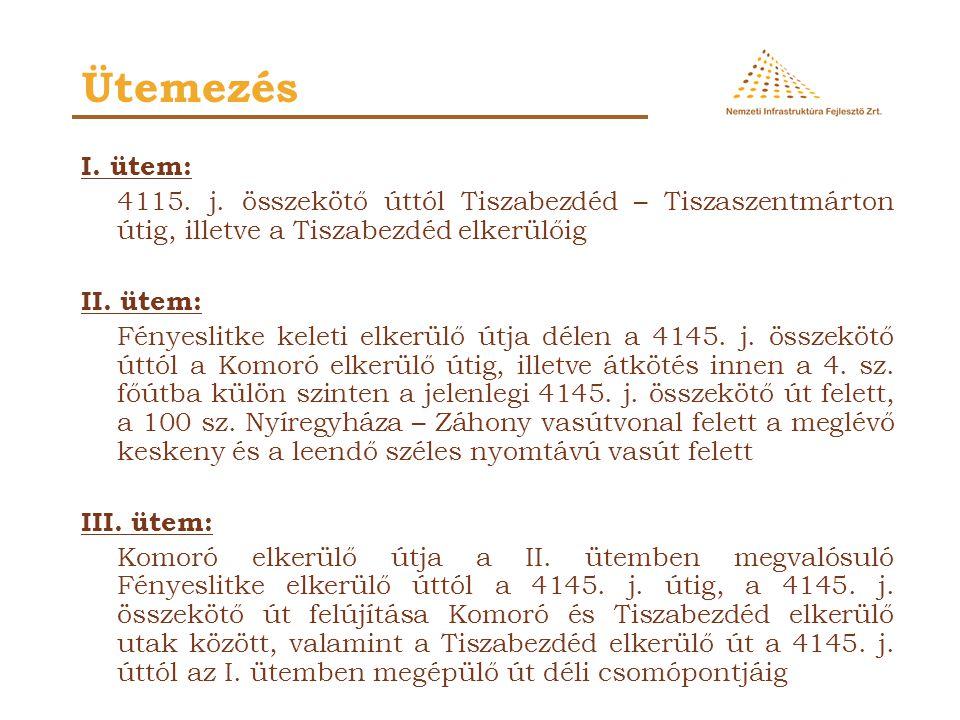 I. ütem: 4115. j. összekötő úttól Tiszabezdéd – Tiszaszentmárton útig, illetve a Tiszabezdéd elkerülőig II. ütem: Fényeslitke keleti elkerülő útja dél