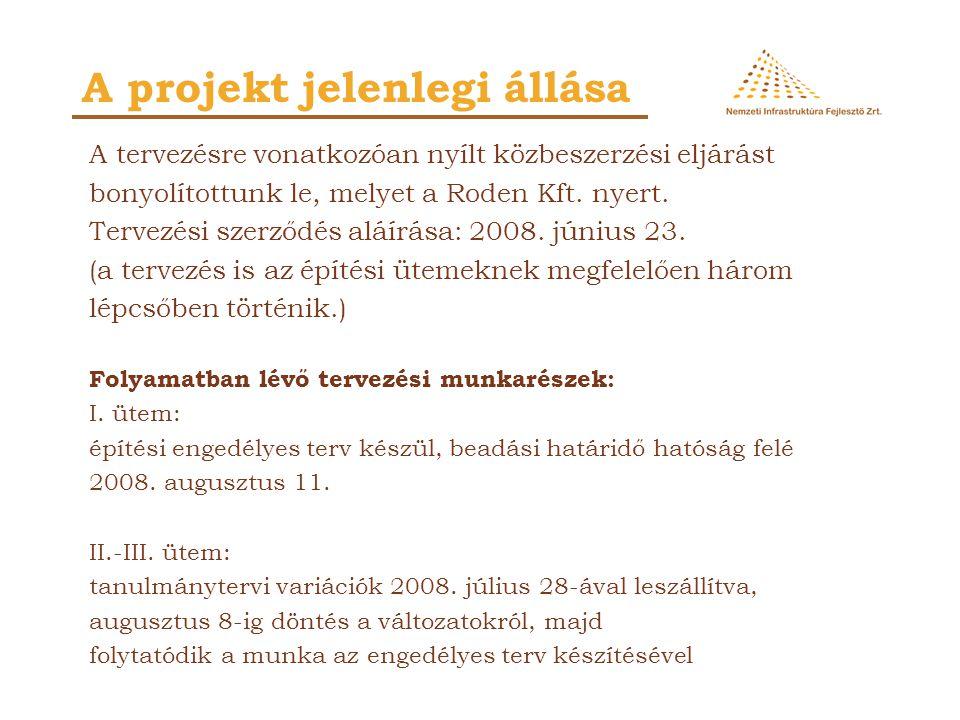 A projekt jelenlegi állása A tervezésre vonatkozóan nyílt közbeszerzési eljárást bonyolítottunk le, melyet a Roden Kft. nyert. Tervezési szerződés alá
