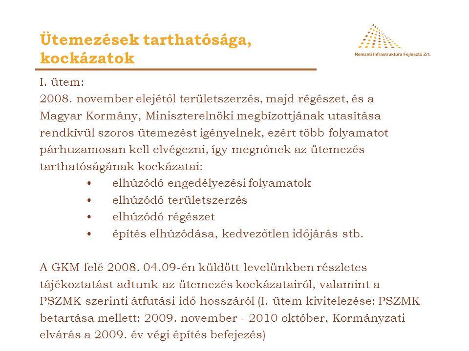 I. ütem: 2008. november elejétől területszerzés, majd régészet, és a Magyar Kormány, Miniszterelnöki megbízottjának utasítása rendkívül szoros ütemezé