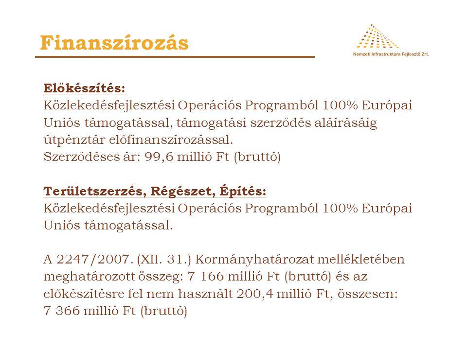 Finanszírozás Előkészítés: Közlekedésfejlesztési Operációs Programból 100% Európai Uniós támogatással, támogatási szerződés aláírásáig útpénztár előfi