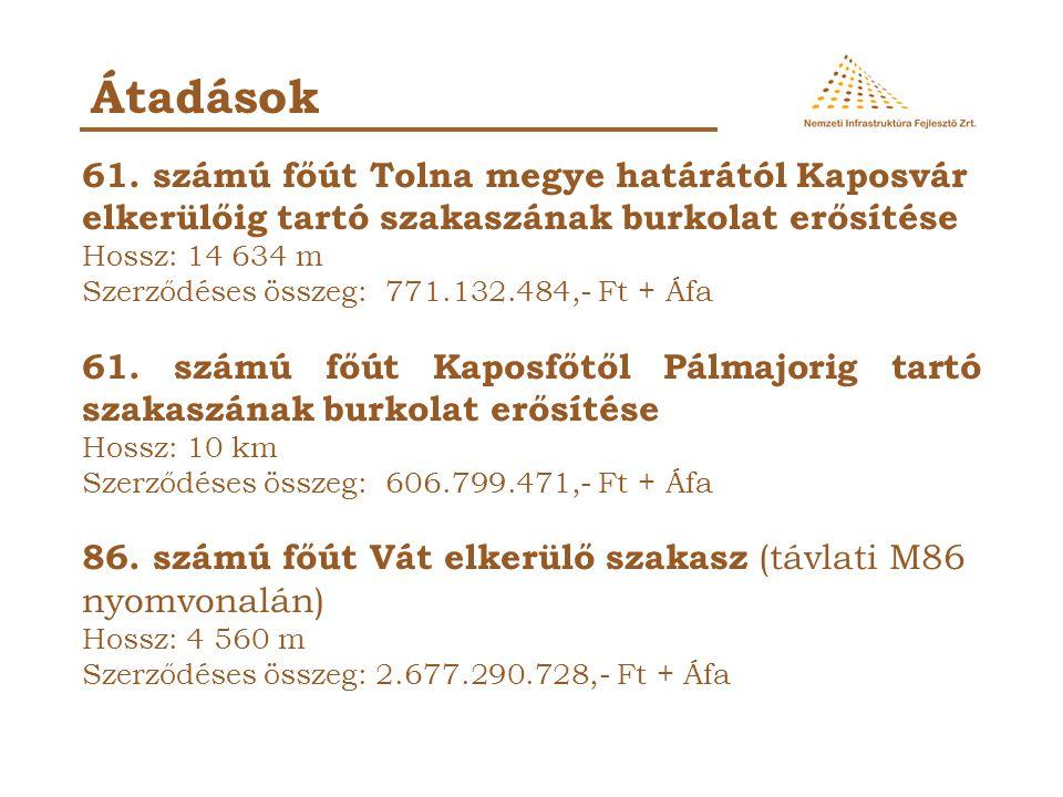 Átadások 61. számú főút Tolna megye határától Kaposvár elkerülőig tartó szakaszának burkolat erősítése Hossz: 14 634 m Szerződéses összeg: 771.132.484