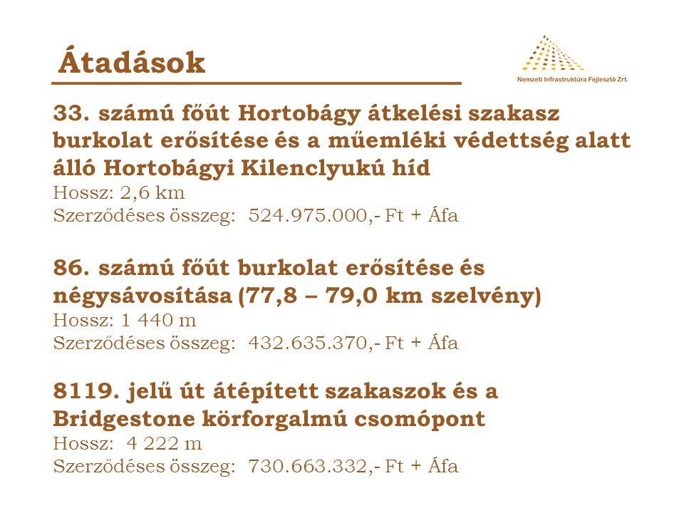 Átadások 33. számú főút Hortobágy átkelési szakasz burkolat erősítése és a műemléki védettség alatt álló Hortobágyi Kilenclyukú híd Hossz: 2,6 km Szer