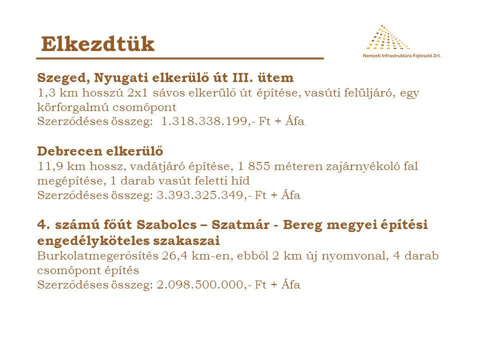 Szeged, Nyugati elkerülő út III. ütem 1,3 km hosszú 2x1 sávos elkerülő út építése, vasúti felüljáró, egy körforgalmú csomópont Szerződéses összeg: 1.3