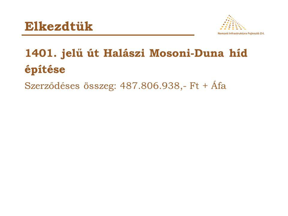 1401. jelű út Halászi Mosoni-Duna híd építése Szerződéses összeg: 487.806.938,- Ft + Áfa Elkezdtük