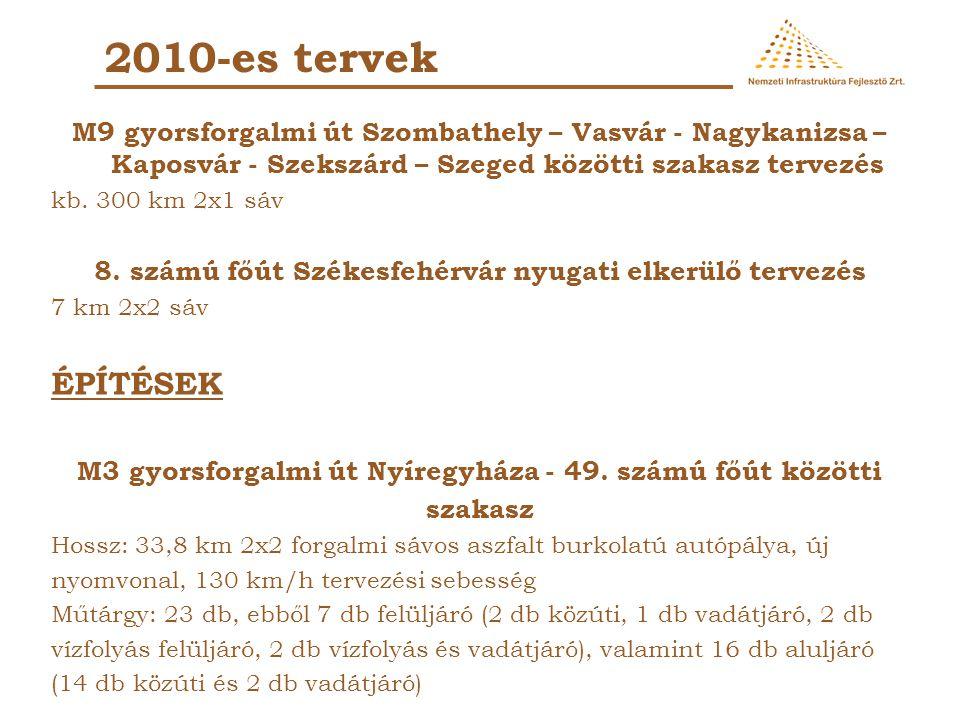 2010-es tervek M9 gyorsforgalmi út Szombathely – Vasvár - Nagykanizsa – Kaposvár - Szekszárd – Szeged közötti szakasz tervezés kb. 300 km 2x1 sáv 8. s