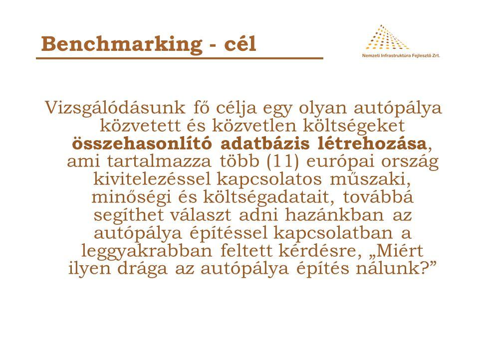 Vizsgálódásunk fő célja egy olyan autópálya közvetett és közvetlen költségeket összehasonlító adatbázis létrehozása, ami tartalmazza több (11) európai