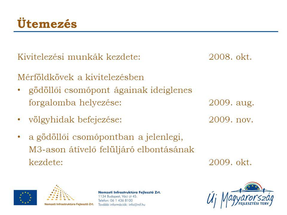 Ütemezés Kivitelezési munkák kezdete:2008. okt. Mérföldkövek a kivitelezésben gödöllői csomópont ágainak ideiglenes forgalomba helyezése:2009. aug. vö