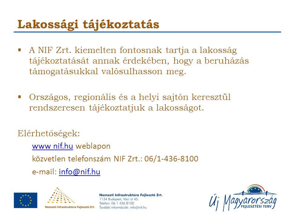 Lakossági tájékoztatás  A NIF Zrt. kiemelten fontosnak tartja a lakosság tájékoztatását annak érdekében, hogy a beruházás támogatásukkal valósulhasso