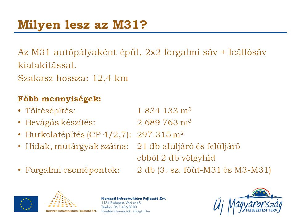 Milyen lesz az M31? Az M31 autópályaként épül, 2x2 forgalmi sáv + leállósáv kialakítással. Szakasz hossza: 12,4 km Főbb mennyiségek: Töltésépítés:1 83
