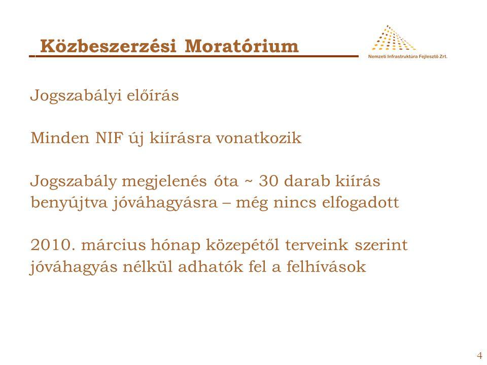 4 Közbeszerzési Moratórium Jogszabályi előírás Minden NIF új kiírásra vonatkozik Jogszabály megjelenés óta ~ 30 darab kiírás benyújtva jóváhagyásra – még nincs elfogadott 2010.