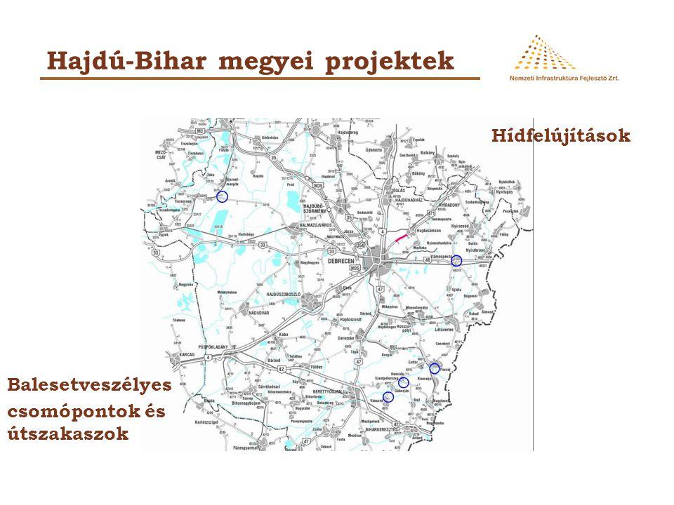 Hajdú-Bihar megyei projektek Hídfelújítások Balesetveszélyes csomópontok és útszakaszok