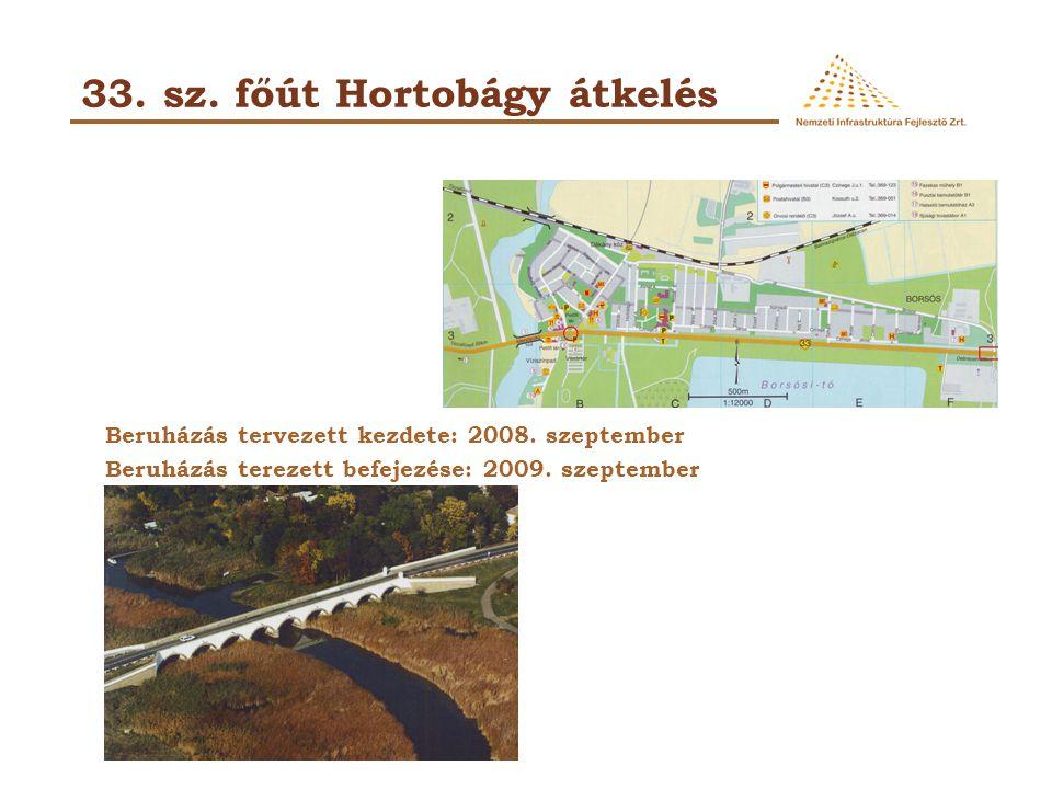 33. sz. főút Hortobágy átkelés Beruházás tervezett kezdete: 2008. szeptember Beruházás terezett befejezése: 2009. szeptember