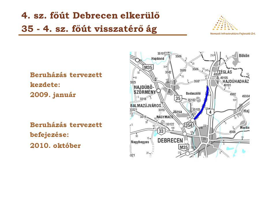4. sz. főút Debrecen elkerülő 35 - 4. sz. főút visszatérő ág Beruházás tervezett kezdete: 2009. január Beruházás tervezett befejezése: 2010. október