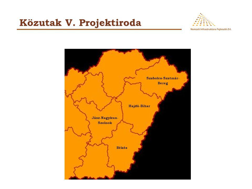 Közutak V. Projektiroda Hajdú-Bihar Jász-Nagykun- Szolnok Békés Szabolcs-Szatmár- Bereg
