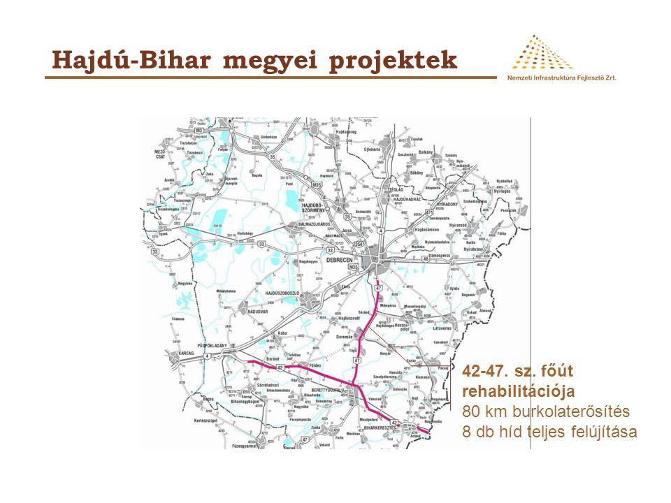 Hajdú-Bihar megyei projektek 42-47. sz. főút rehabilitációja 80 km burkolaterősítés 8 db híd teljes felújítása
