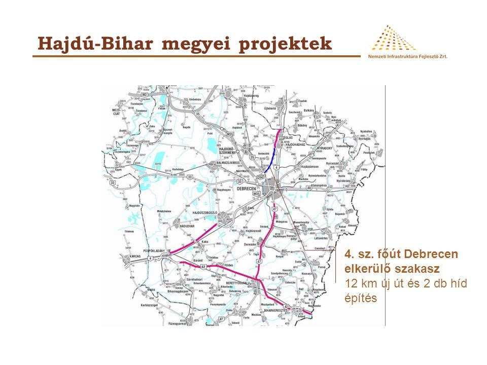 Hajdú-Bihar megyei projektek 4. sz. főút Debrecen elkerülő szakasz 12 km új út és 2 db híd építés
