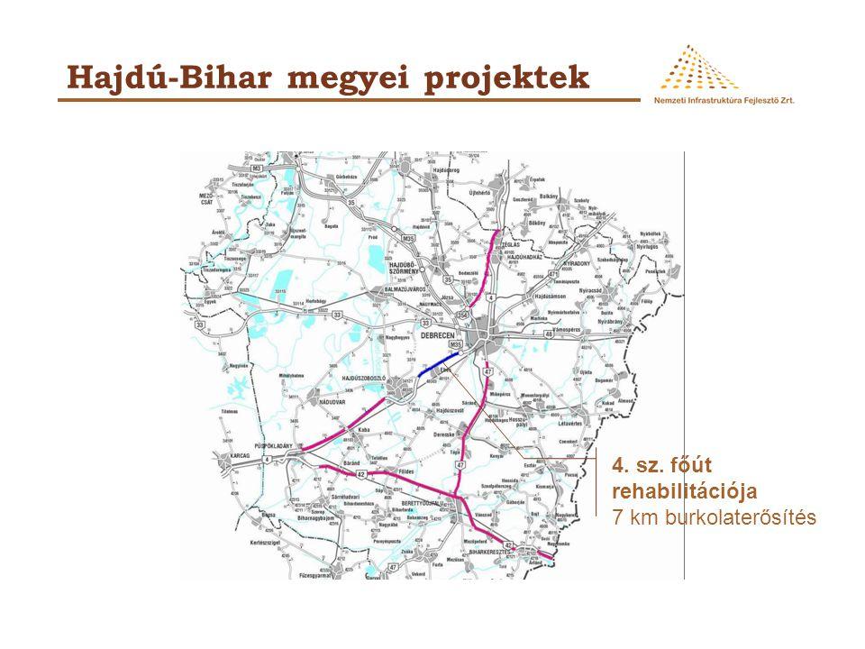 Hajdú-Bihar megyei projektek 4. sz. főút rehabilitációja 7 km burkolaterősítés