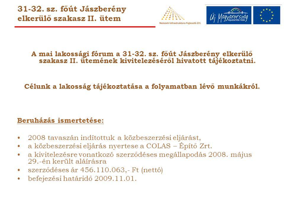 31-32.sz. főút Jászberény elkerülő szakasz II. ütem A mai lakossági fórum a 31-32.