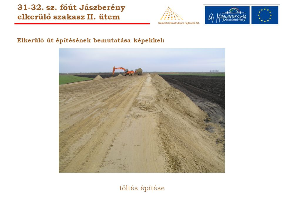 Elkerülő út építésének bemutatása képekkel: töltés építése 31-32.