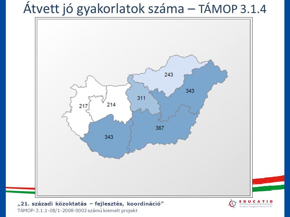 """""""21. századi közoktatás – fejlesztés, koordináció"""" TÁMOP-3.1.1-08/1-2008-0002 számú kiemelt projekt Átvett jó gyakorlatok száma – TÁMOP 3.1.4"""