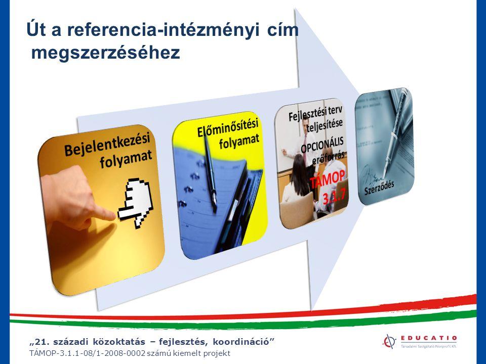 """""""21. századi közoktatás – fejlesztés, koordináció"""" TÁMOP-3.1.1-08/1-2008-0002 számú kiemelt projekt Út a referencia-intézményi cím megszerzéséhez"""