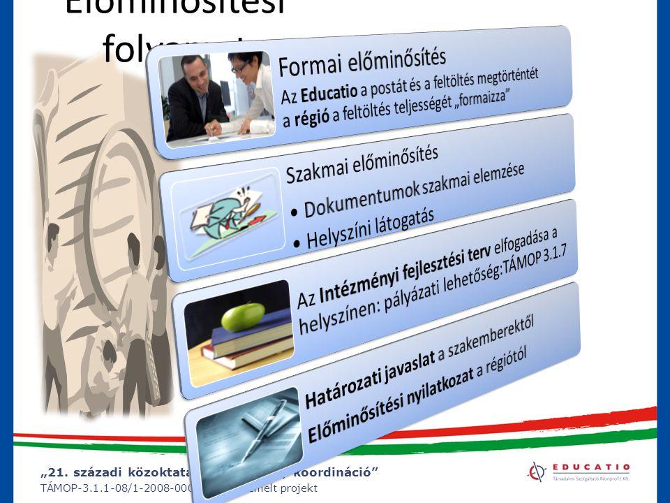 """""""21. századi közoktatás – fejlesztés, koordináció"""" TÁMOP-3.1.1-08/1-2008-0002 számú kiemelt projekt Előminősítési folyamat"""