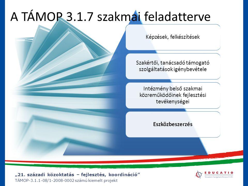 """""""21. századi közoktatás – fejlesztés, koordináció"""" TÁMOP-3.1.1-08/1-2008-0002 számú kiemelt projekt Képzések, felkészítések Szakértői, tanácsadó támog"""