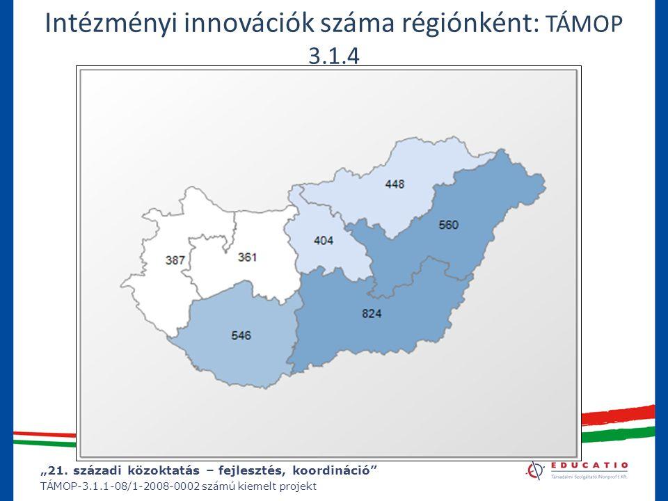 """""""21. századi közoktatás – fejlesztés, koordináció"""" TÁMOP-3.1.1-08/1-2008-0002 számú kiemelt projekt Intézményi innovációk száma régiónként: TÁMOP 3.1."""