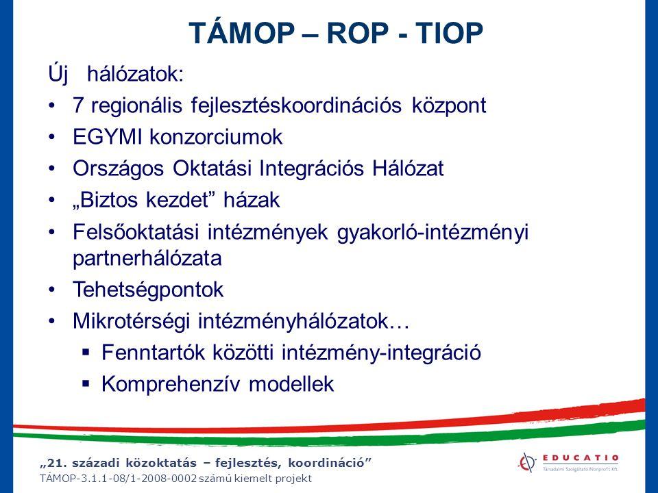 """""""21. századi közoktatás – fejlesztés, koordináció"""" TÁMOP-3.1.1-08/1-2008-0002 számú kiemelt projekt TÁMOP – ROP - TIOP Új hálózatok: 7 regionális fejl"""
