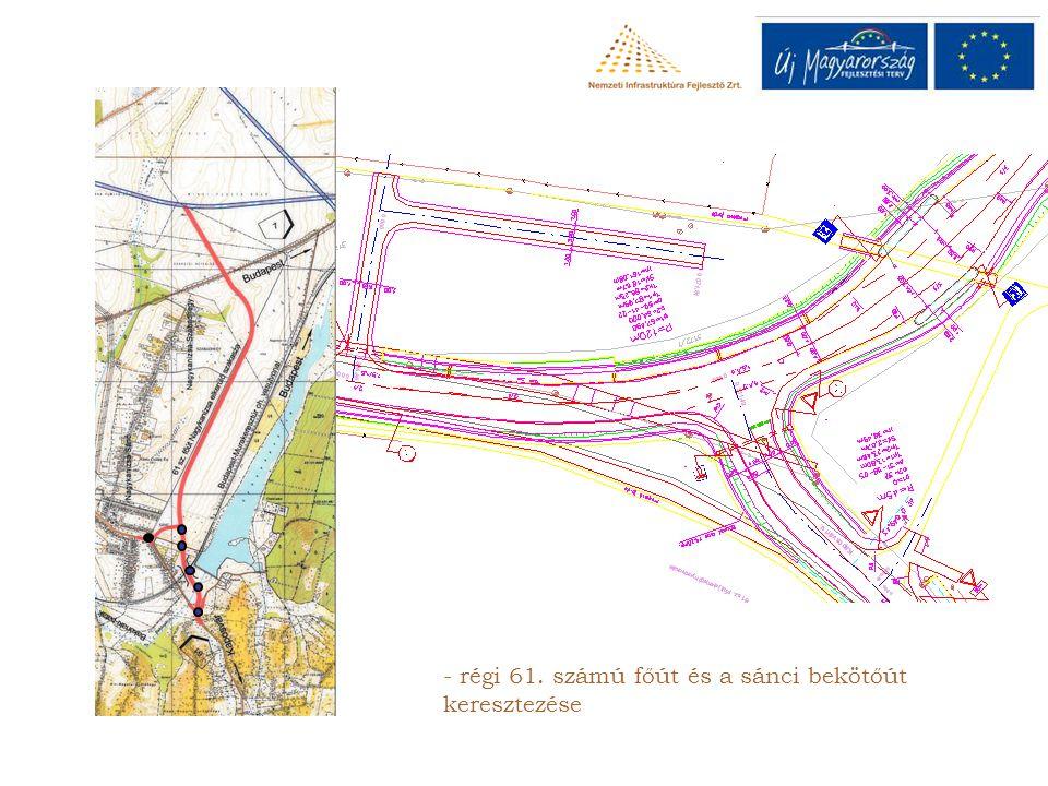 - régi 61. számú főút és a sánci bekötőút keresztezése