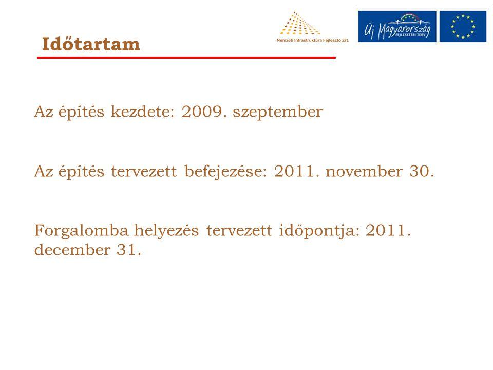Időtartam Az építés kezdete: 2009.szeptember Az építés tervezett befejezése: 2011.