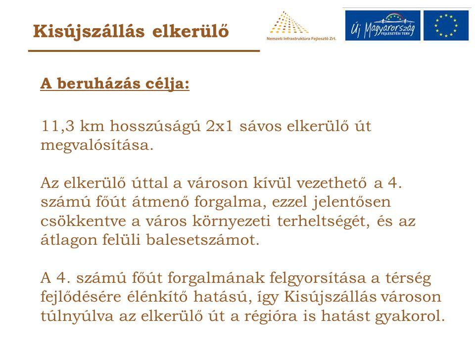 Kisújszállás elkerülő A beruházás célja: 11,3 km hosszúságú 2x1 sávos elkerülő út megvalósítása.