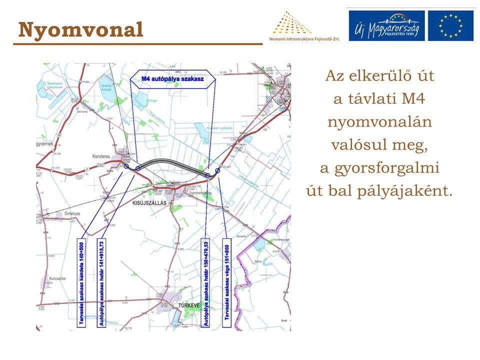 Az elkerülő út a távlati M4 nyomvonalán valósul meg, a gyorsforgalmi út bal pályájaként. Nyomvonal