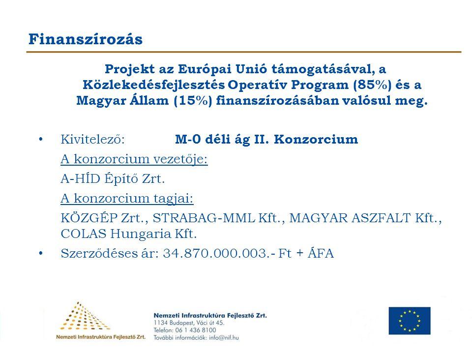 Finanszírozás Projekt az Európai Unió támogatásával, a Közlekedésfejlesztés Operatív Program (85%) és a Magyar Állam (15%) finanszírozásában valósul m