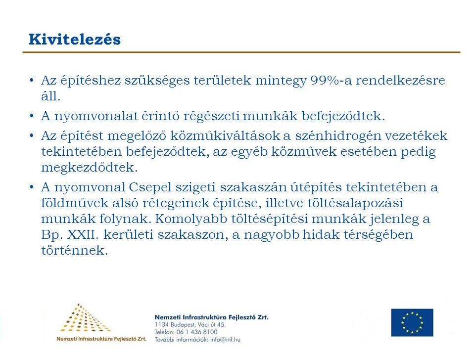 """Kivitelezés A Hárosi Duna-híd alapozási munkái megkezdődtek, a híd acélszerkezeti elemei legyártásra kerültek, az előkészített szerelőtéren folyamatos az acélszerkezeti elemek összeszerelése, és elkészült a híd betolásához szükséges """"szerelőcsőr is."""