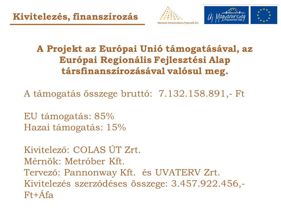 Kivitelezés, finanszírozás A Projekt az Európai Unió támogatásával, az Európai Regionális Fejlesztési Alap társfinanszírozásával valósul meg.