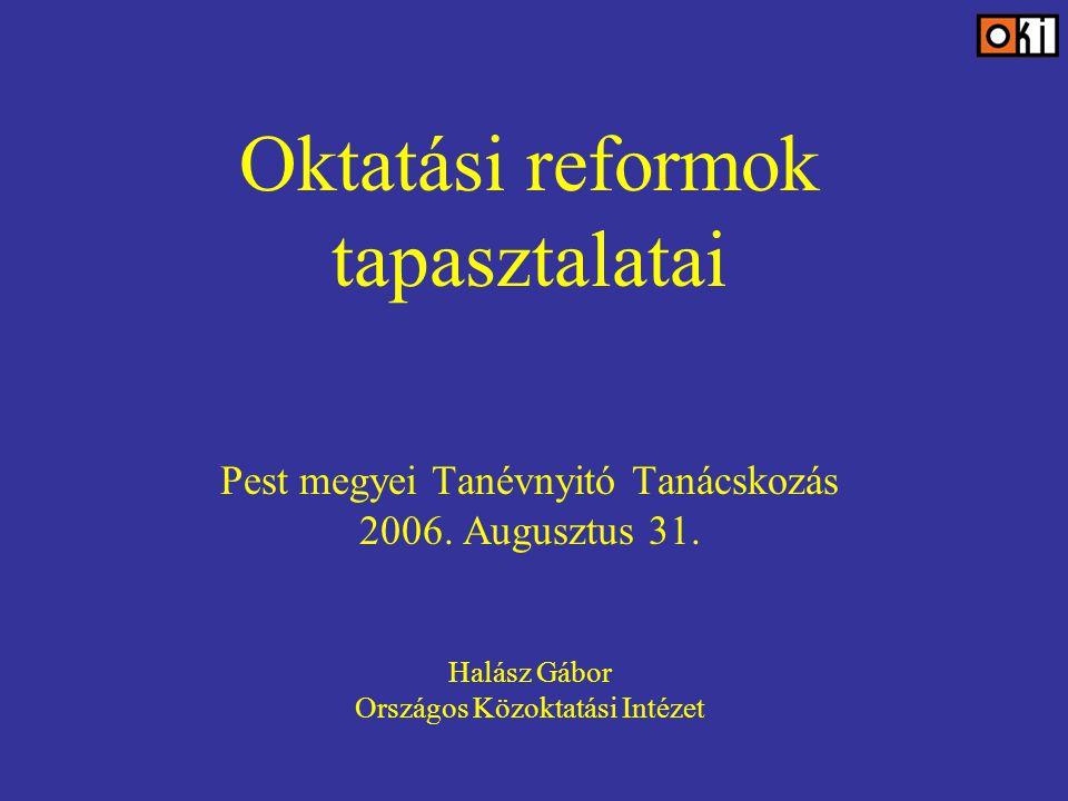 Oktatási reformok tapasztalatai Pest megyei Tanévnyitó Tanácskozás 2006.