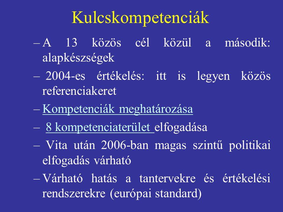 Kulcskompetenciák –A 13 közös cél közül a második: alapkészségek – 2004-es értékelés: itt is legyen közös referenciakeret –Kompetenciák meghatározásaKompetenciák meghatározása – 8 kompetenciaterület elfogadása8 kompetenciaterület – Vita után 2006-ban magas szintű politikai elfogadás várható –Várható hatás a tantervekre és értékelési rendszerekre (európai standard)