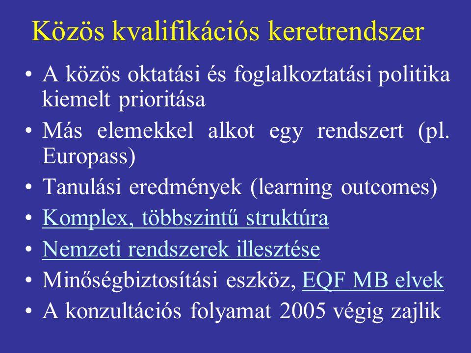 Közös kvalifikációs keretrendszer A közös oktatási és foglalkoztatási politika kiemelt prioritása Más elemekkel alkot egy rendszert (pl. Europass) Tan