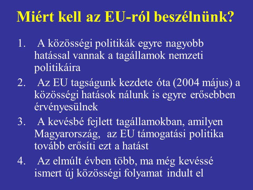 Miért kell az EU-ról beszélnünk? 1. A közösségi politikák egyre nagyobb hatással vannak a tagállamok nemzeti politikáira 2. Az EU tagságunk kezdete ót