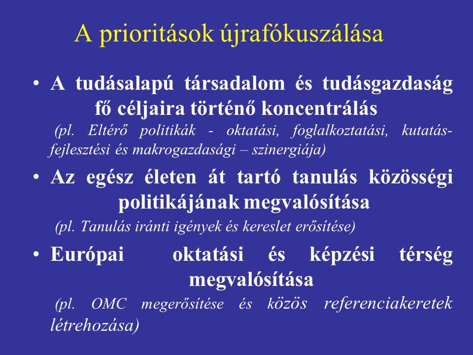 A prioritások újrafókuszálása A tudásalapú társadalom és tudásgazdaság fő céljaira történő koncentrálás (pl. Eltérő politikák - oktatási, foglalkoztat