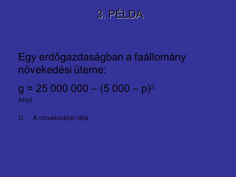3. PÉLDA Egy erdőgazdaságban a faállomány növekedési üteme: g = 25 000 000 – (5 000 – p) 2 Ahol: G... A növekedési ráta