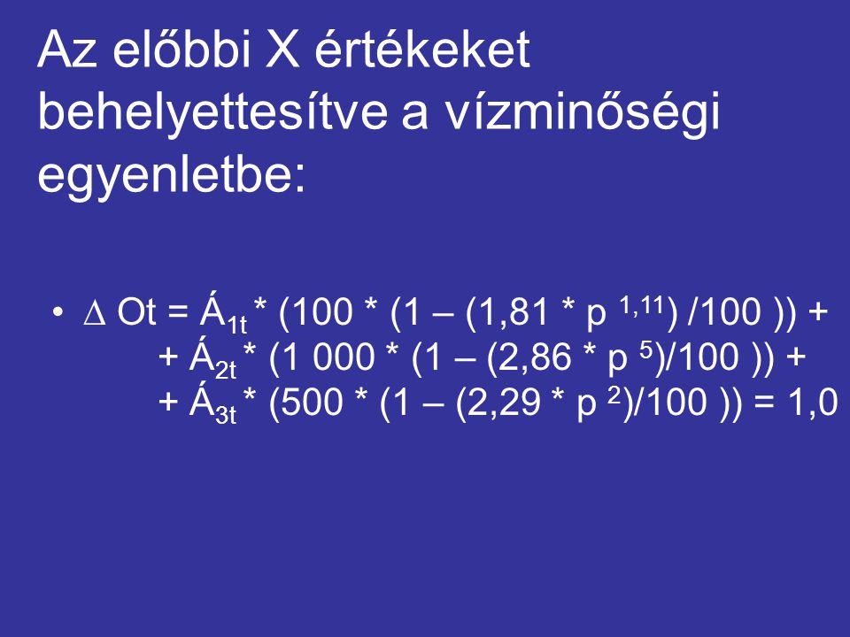 Az előbbi X értékeket behelyettesítve a vízminőségi egyenletbe:  Ot = Á 1t * (100 * (1 – (1,81 * p 1,11 ) /100 )) + + Á 2t * (1 000 * (1 – (2,86 * p 5 )/100 )) + + Á 3t * (500 * (1 – (2,29 * p 2 )/100 )) = 1,0