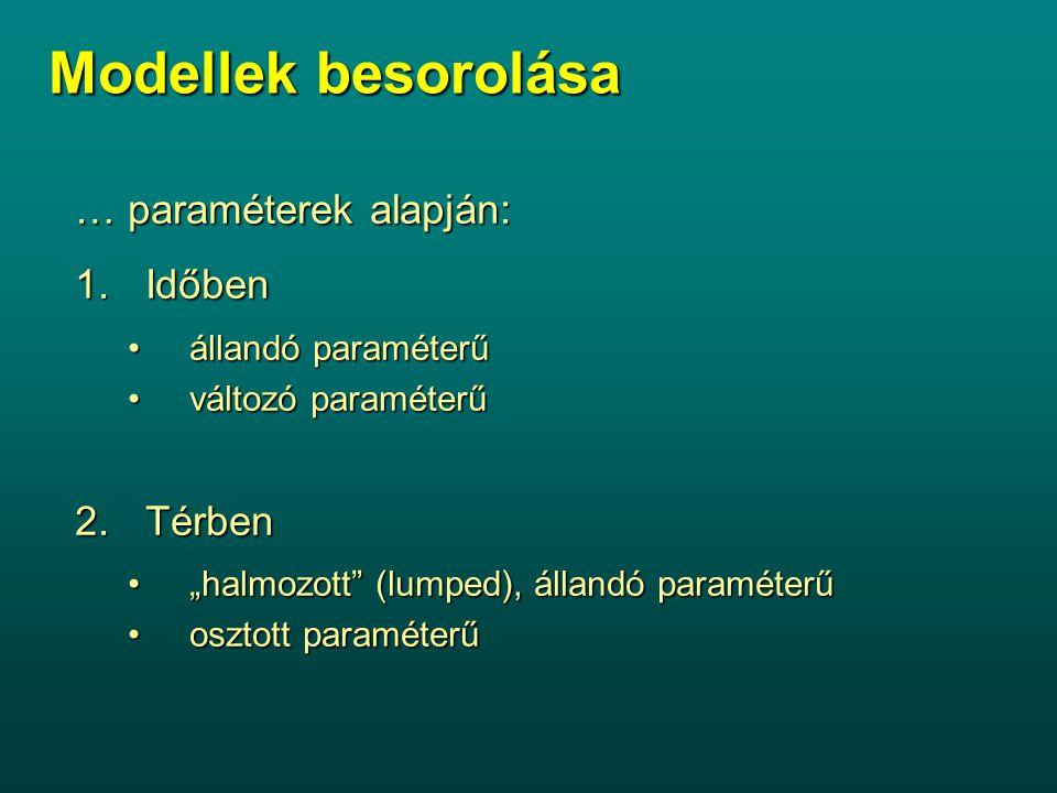"""Modellek besorolása … paraméterek alapján: 1.Időben állandó paraméterűállandó paraméterű változó paraméterűváltozó paraméterű 2.Térben """"halmozott (lumped), állandó paraméterű""""halmozott (lumped), állandó paraméterű osztott paraméterűosztott paraméterű"""
