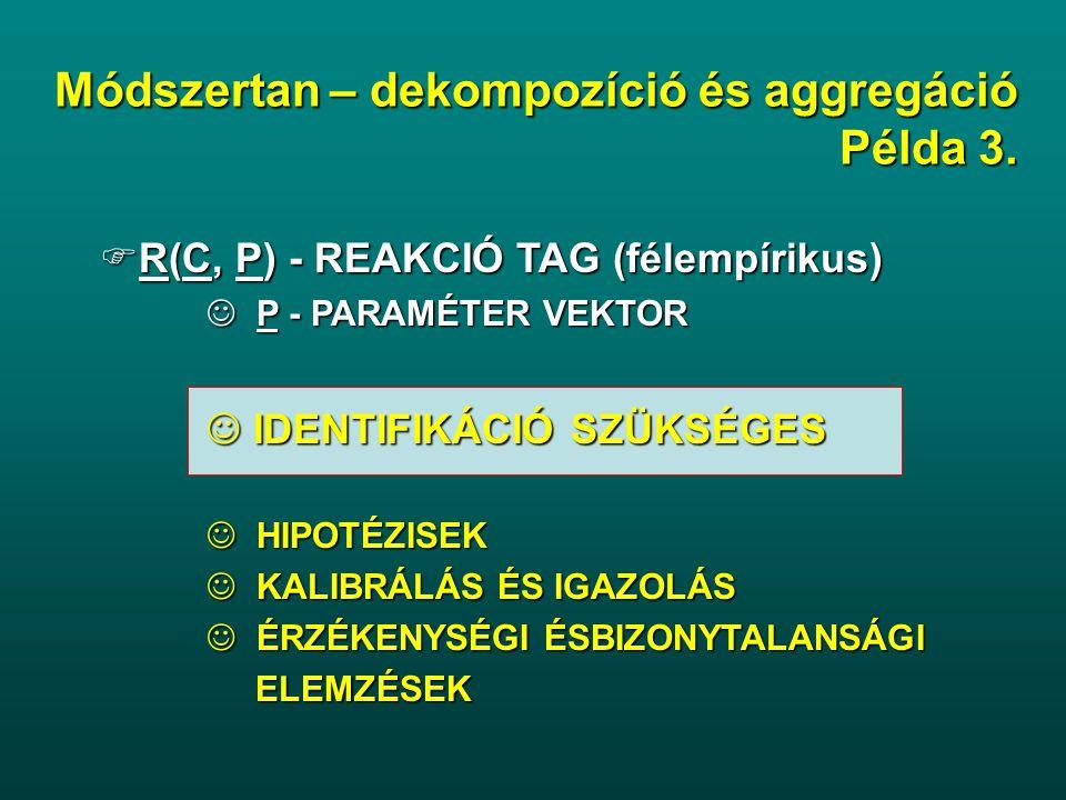  R(C, P) - REAKCIÓ TAG (félempírikus) P - PARAMÉTER VEKTOR P - PARAMÉTER VEKTOR IDENTIFIKÁCIÓ SZÜKSÉGES IDENTIFIKÁCIÓ SZÜKSÉGES HIPOTÉZISEK HIPOTÉZISEK KALIBRÁLÁS ÉS IGAZOLÁS KALIBRÁLÁS ÉS IGAZOLÁS ÉRZÉKENYSÉGI ÉSBIZONYTALANSÁGI ÉRZÉKENYSÉGI ÉSBIZONYTALANSÁGI ELEMZÉSEK ELEMZÉSEK Módszertan – dekompozíció és aggregáció Példa 3.