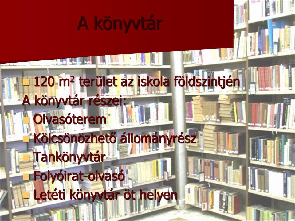 A könyvtár 120 m 2 terület az iskola földszintjén 120 m 2 terület az iskola földszintjén A könyvtár részei: Olvasóterem Olvasóterem Kölcsönözhető állo