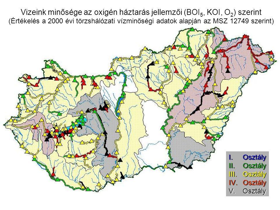 Vizeink minősége az oxigén háztarás jellemzői (BOI 5, KOI, O 2 ) szerint (Értékelés a 2000 évi törzshálózati vízminőségi adatok alapján az MSZ 12749 szerint) I.Osztály II.Osztály III.Osztály IV.Osztály V.Osztály