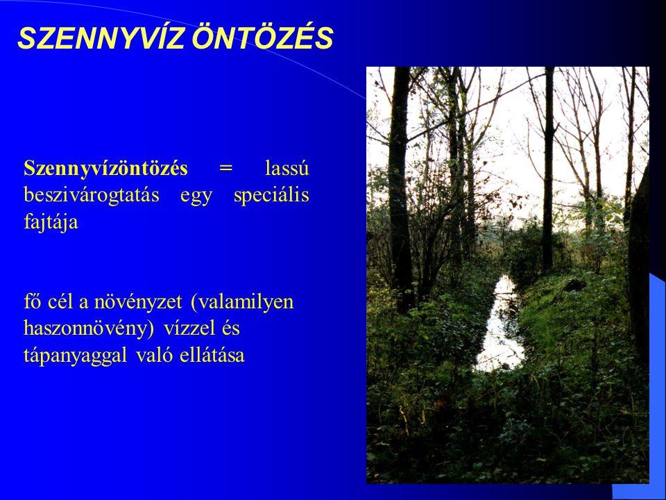 SZENNYVÍZ ÖNTÖZÉS Szennyvízöntözés = lassú beszivárogtatás egy speciális fajtája fő cél a növényzet (valamilyen haszonnövény) vízzel és tápanyaggal való ellátása